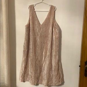 crushed velvet blush dress v neck